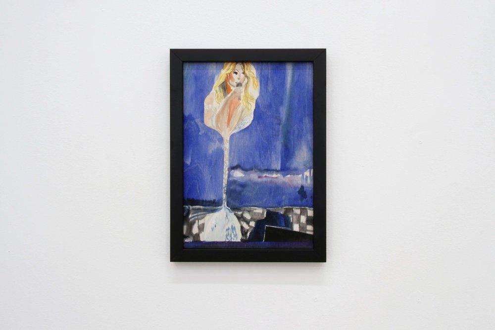 Ohne Titel (Mariah), 2018 Gouache on wood 29.7 x 21 cm