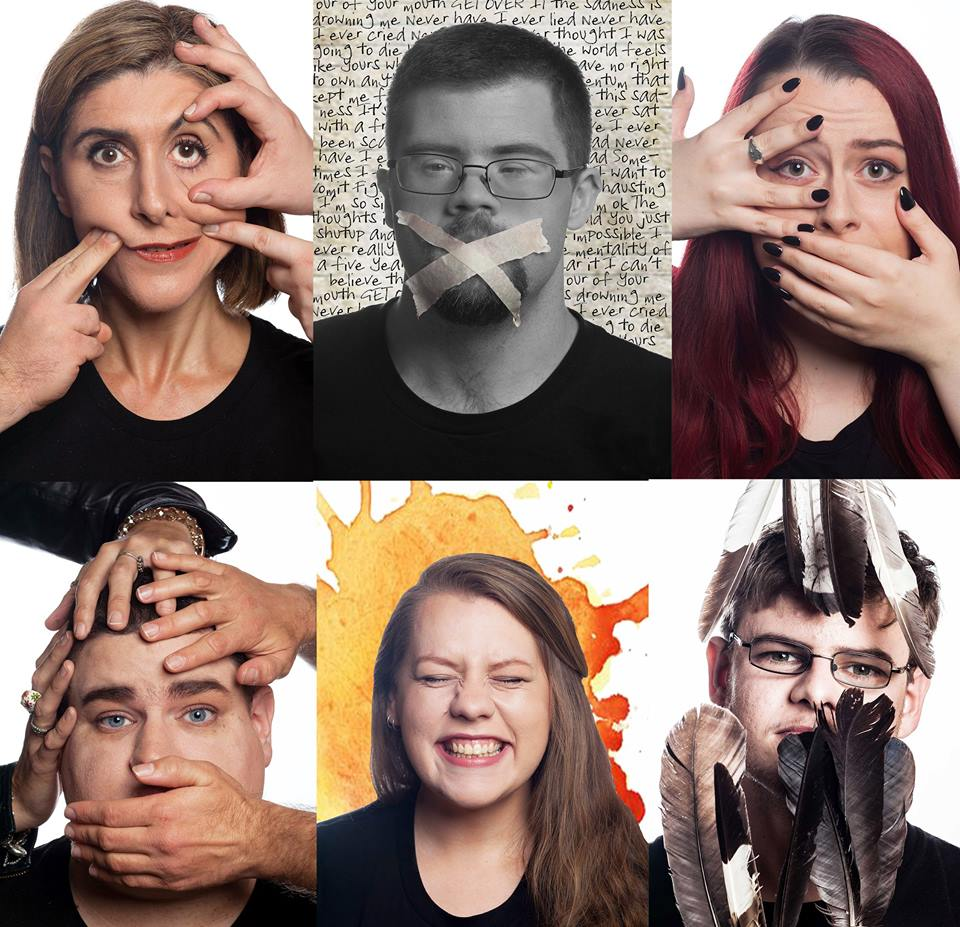[Image Description: six photographs in a collage in a 3x2 format. Each photograph features an artist headshot, one with fingers poking into her face, another with masking tape over his mouth, another covering her mouth, another staring into the camera with hands on his face, another smiling wide with her eyes closed, and the last staring into the camera with bird feathers partially obstructing his face.]