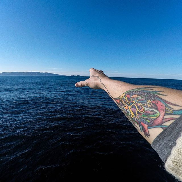 Peeking into social media to say hello. This is Cape horn and I. My body has been on 6 of the 7 #continents on this #planet. #unreal  This is also my new and only #tattoo. Ask me what it means sometime. Thanks to Laur for the image.  Finding my #hand to finish the #antarcticbiennale #VR #gesture of the teams #experience and #artworks.
