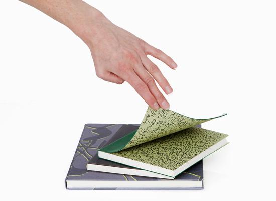 Notesbøger, lærred m. serigrafi / læder m. mønstret inderside