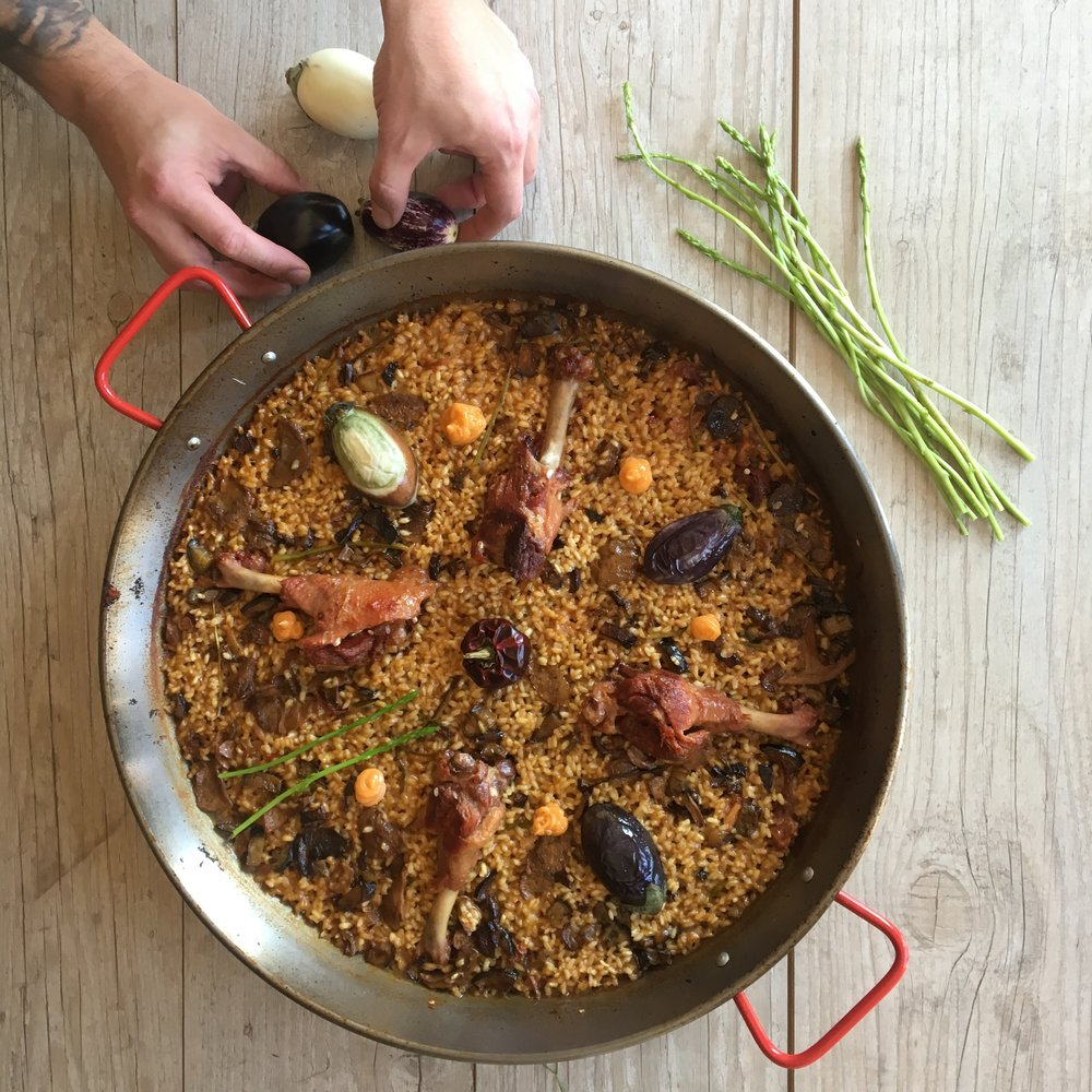 ibiza paella duck mushrooms alioli catering chef in your villa ibiza wedding celebrations foodie homemade takeaway paella
