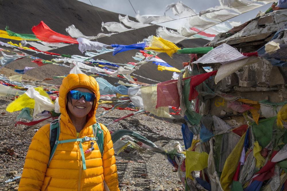 Annine på Nyile La Pass, 4870 moh, Bhutan, 2017.