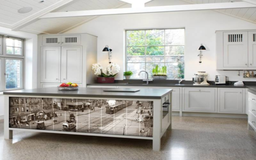 Kitchen island with street view