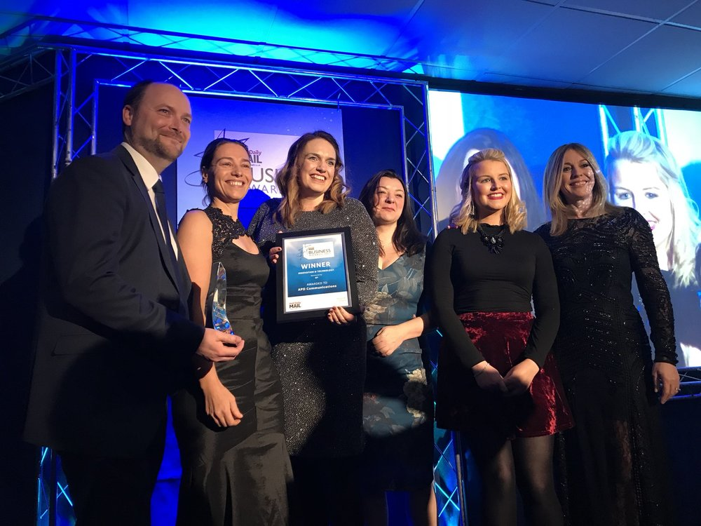 Team APD collecting the Innovation and Technology Award 2017
