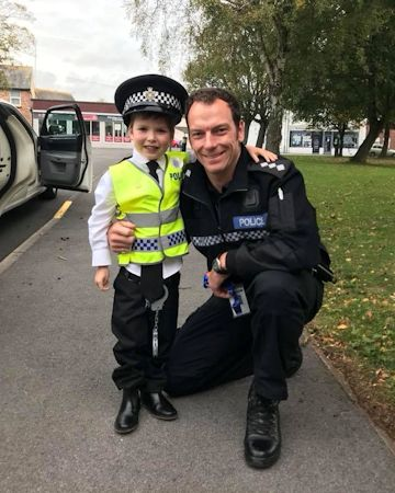 Little Danny with chief inspector marc clothier at Sussex Police