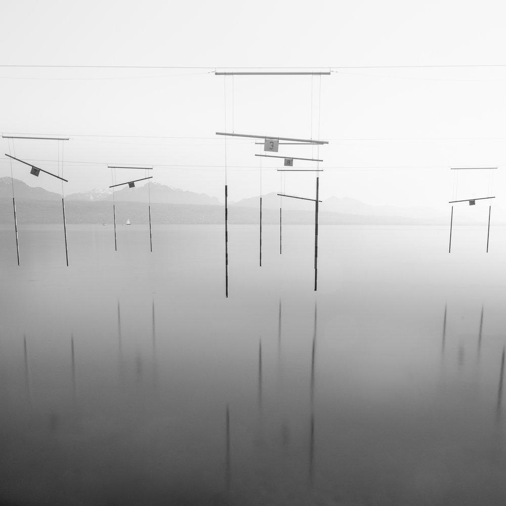 Hanging poles.