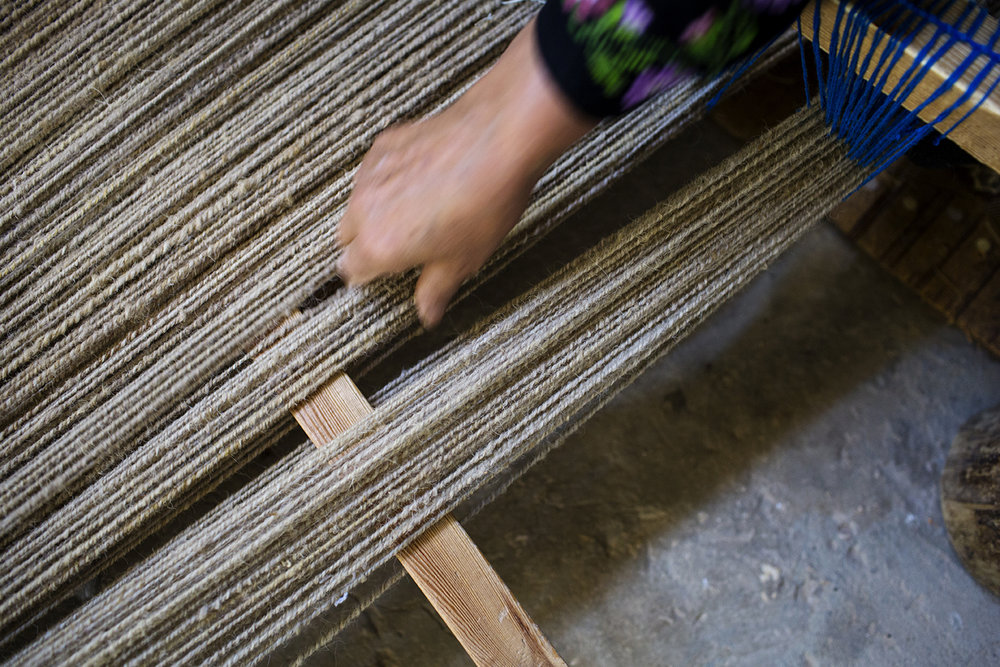 The Warp Face of the Loom is Wool = makes the carpets double soft and durable