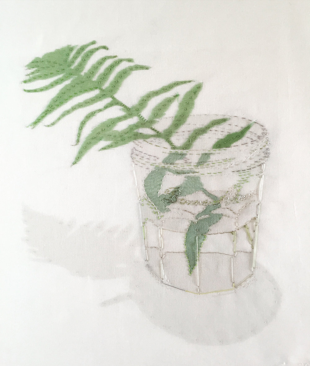 Under a Beech Tree, Fern in Bonne Mamam Jar 2016 hand embroidered silk organza on linen - SOLD