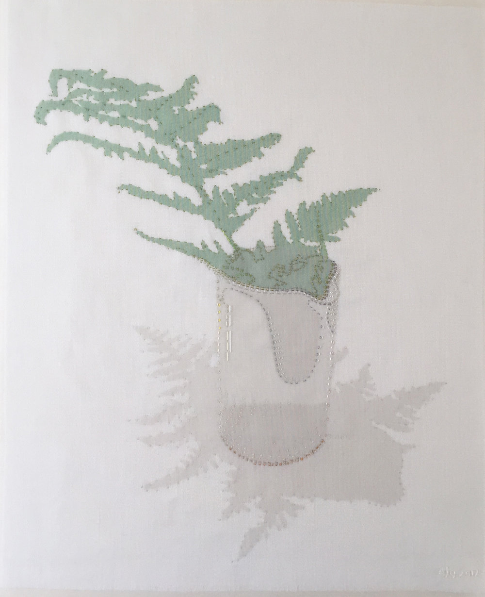 Fern in pourer 2017 hand stitched silk organza on linen – 26cm x 32cm Oak frame 42cm x 52cm - Available at Contemporary Applied Arts