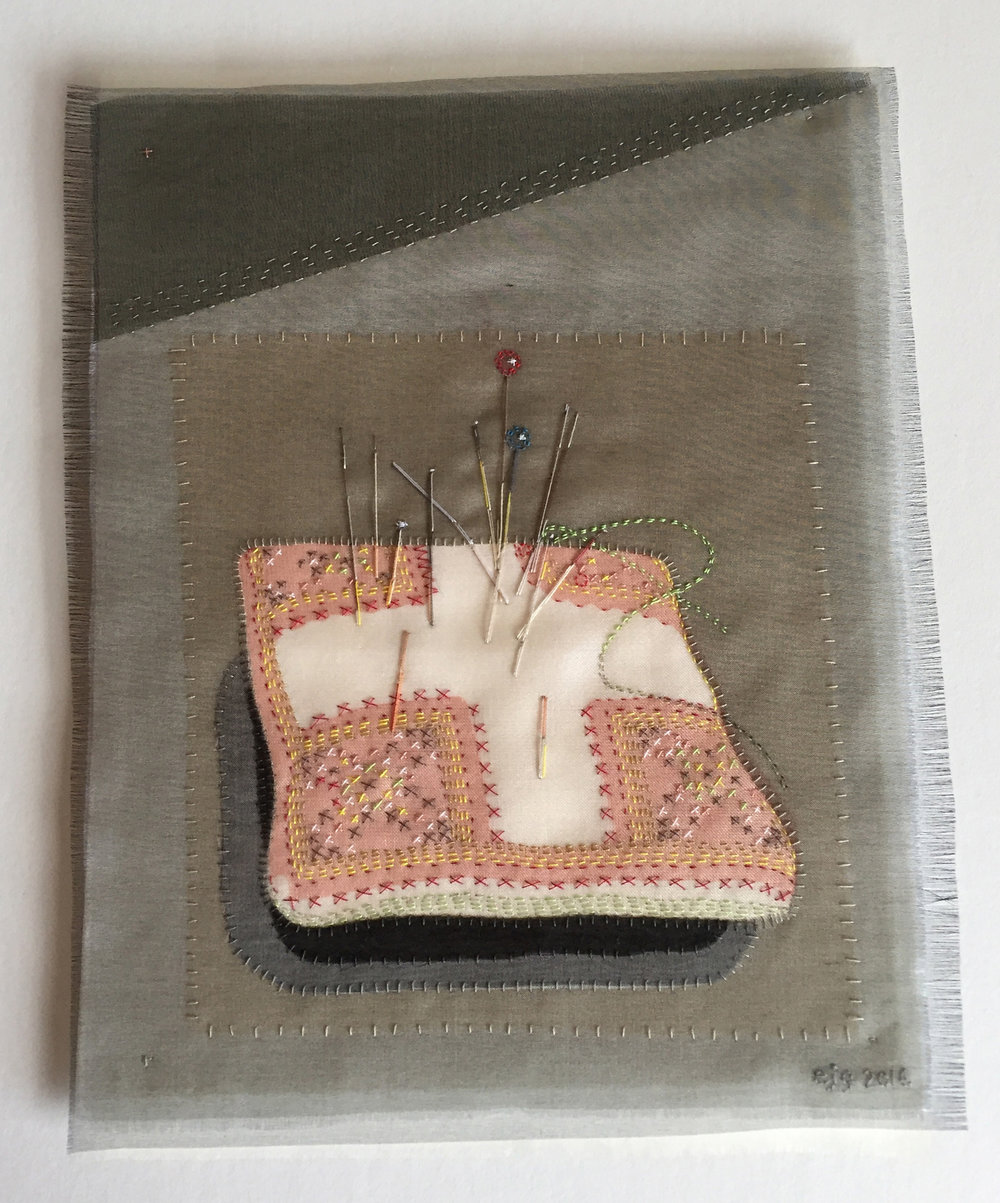 Pincushion portrait - Bridget. Silk organza appliqué, hand stitched. Oak frame size 41.5cm x 49cm - SOLD