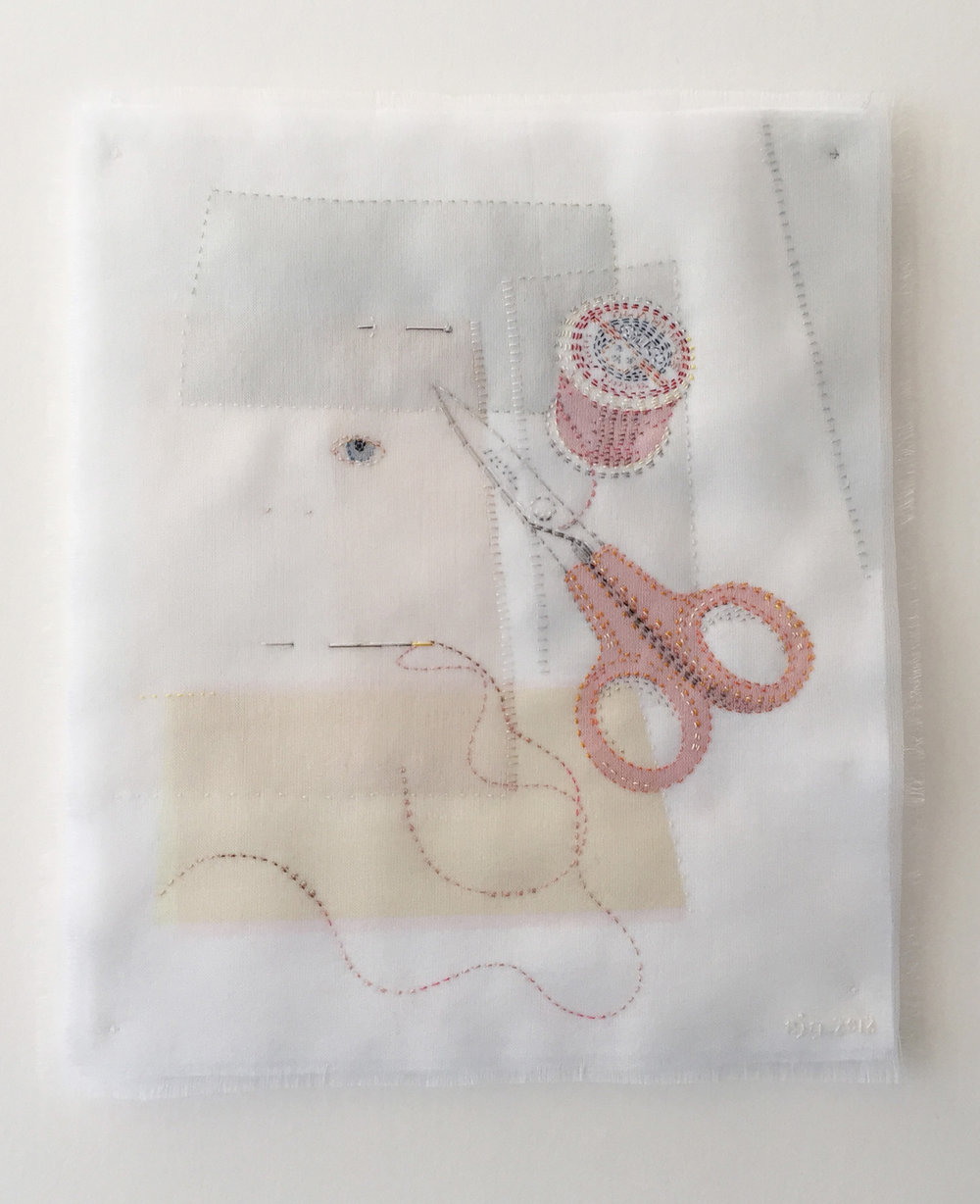 Portrait of a Textile Artist - Silk organza appliqué, hand stitched - Available at Contemporary Applied Arts