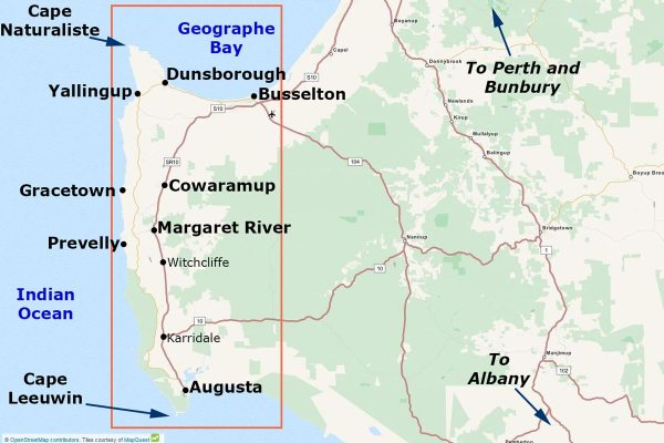 Where are we? - Here is a map of the Margaret River Region so you can get an idea of the distances between each town. We are located in Dunsborough which is 3 hours south of Perth, Margaret River is another 45 minutes south of Dunsborough.