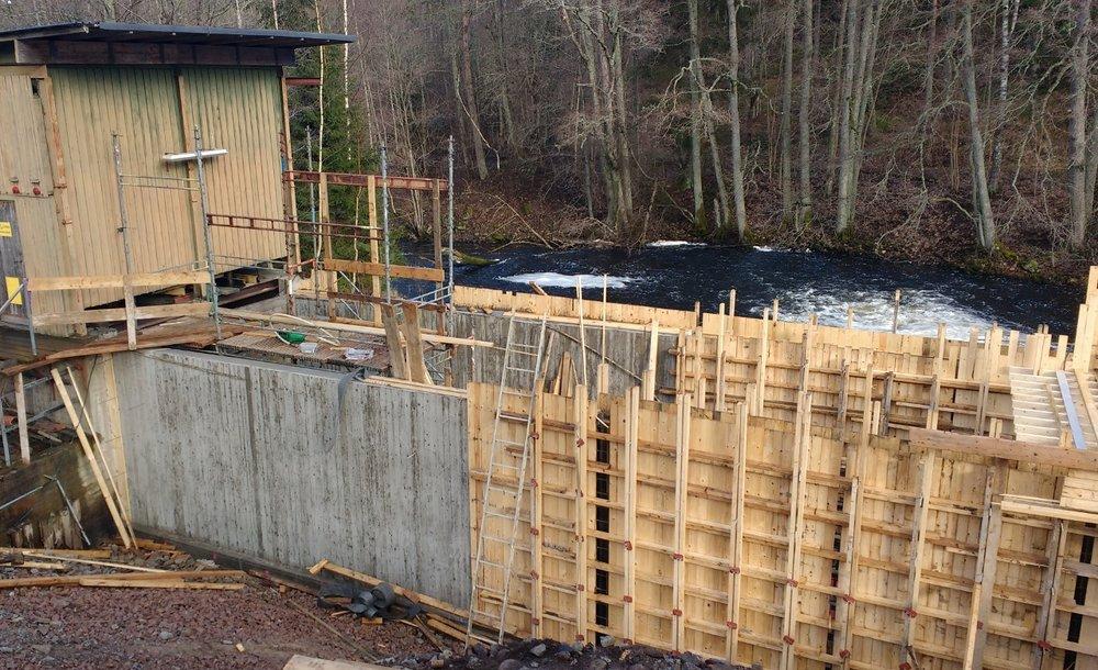 Ny inloppsränna till vattenkraftverk, Mullsjö  Privat kraftverksägare, 2017