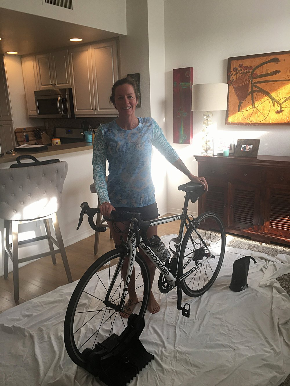 Coach Heather Casey successfully built her bike after traveling to California!