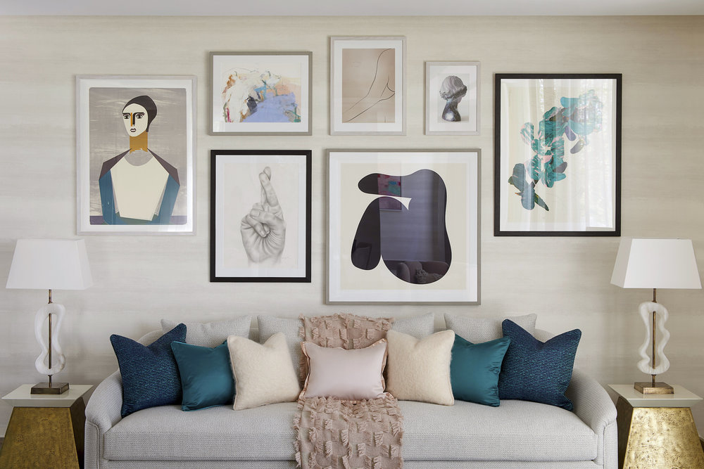 Chiltern Place | Marylebone⁣   Living Room Cluster Wall - Collage, Oil Pastel, Screenprints, Photography, and Drawings on Paper  ⁣⁣    Interior Design: Elicyon  Developer: Ronson Capital Partners