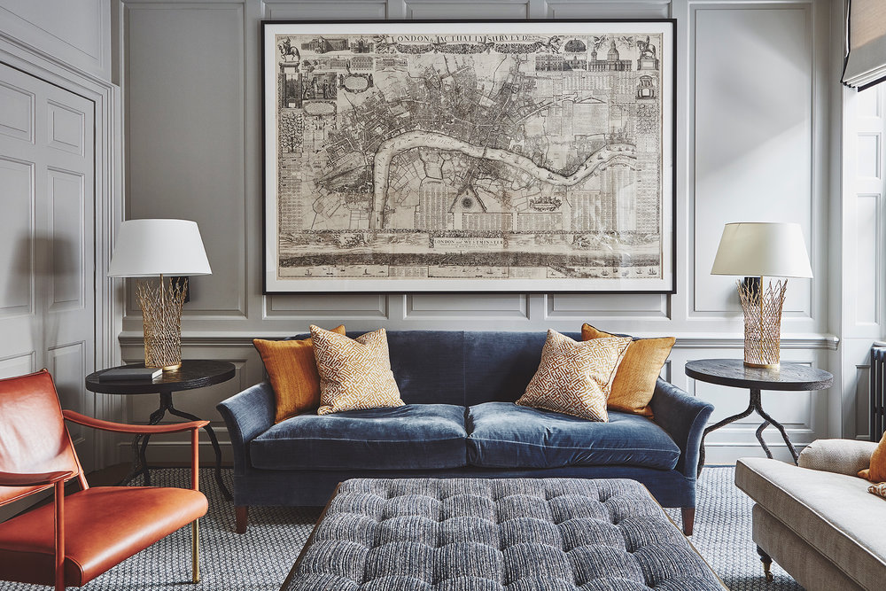 Private Residence | Soho   ⁣Family Room - Unique Lithograph Map of London⁣    ⁣⁣  Interior Design: Anna Hewitson Design