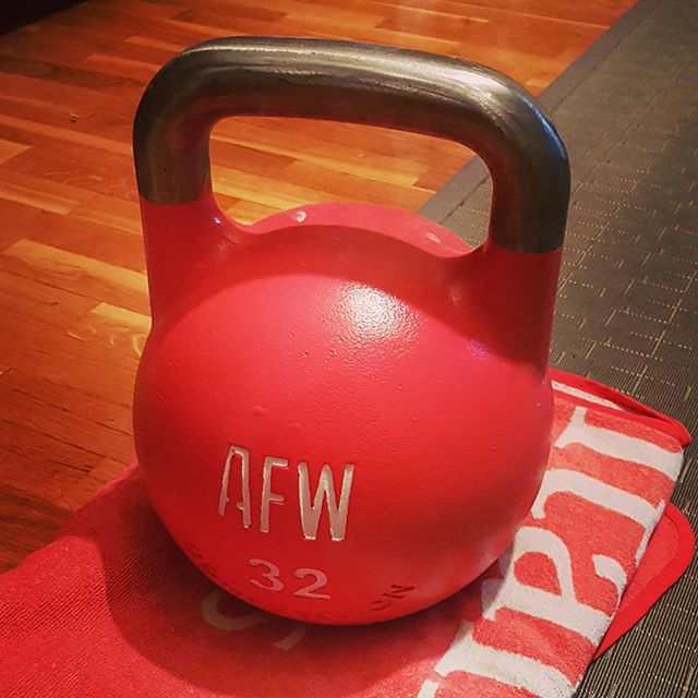 Me and big momma. All I know is one of us is gonna lose. . . #kettlebells #fitness #32kg #kettlebellworkout