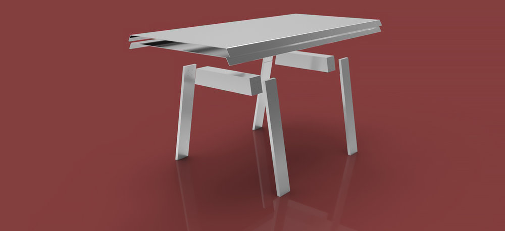PLY / ALU Table - Manufacturing drawings for an aluminium table designed to replicate the 'plywood effect'