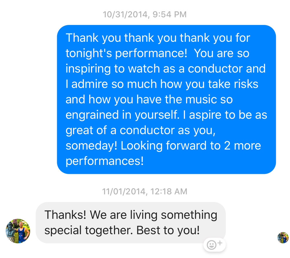 Yannick Nezet-Seguin answering a Facebook message promptly after the first performance of Beethoven's 9th Symphony with the Philadelphia Orchestra.