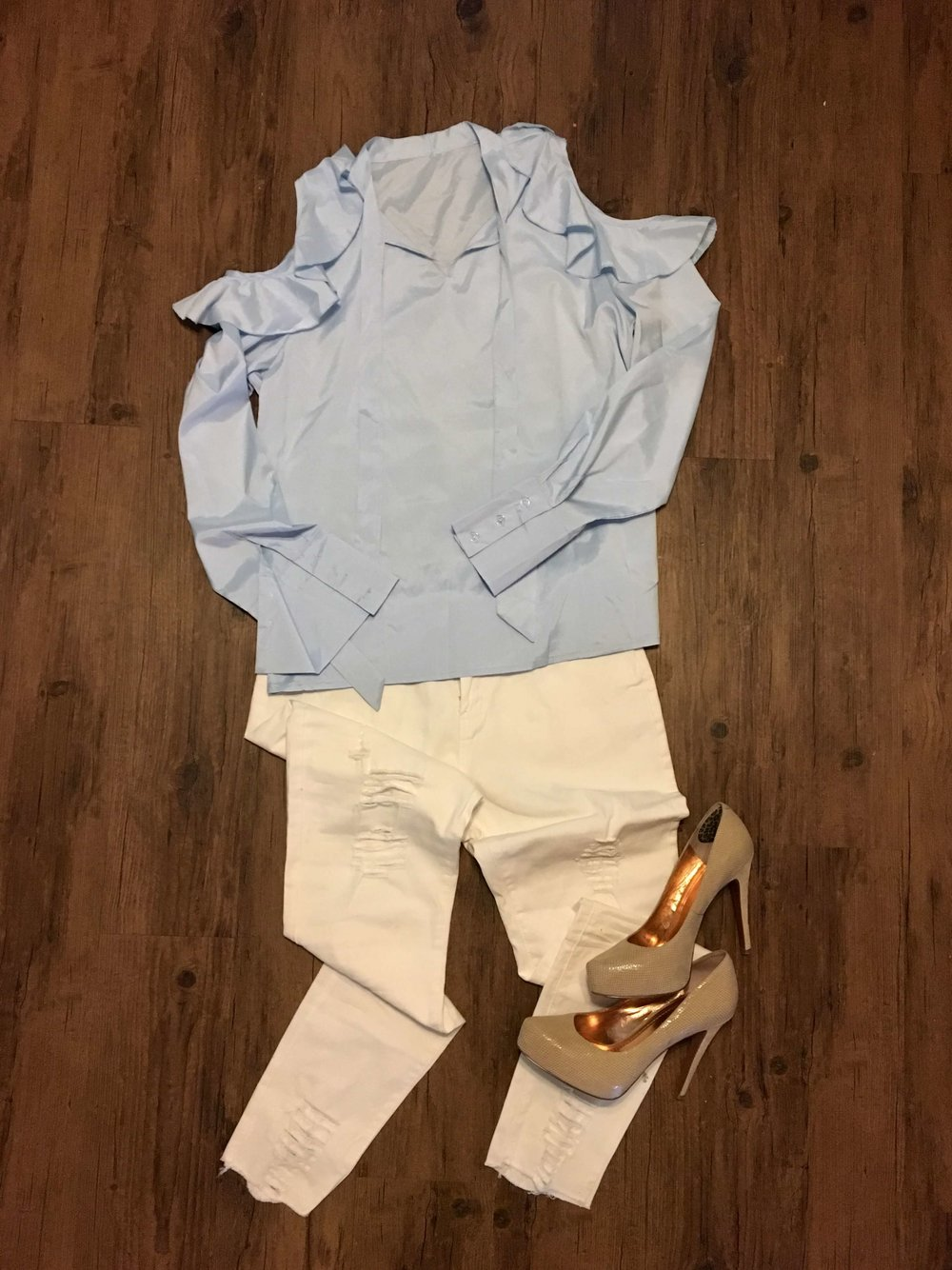 Blue cold shoulder top with white distressed jeans from Fashom!