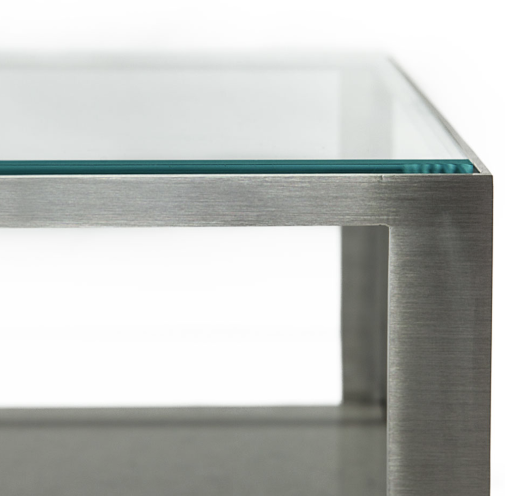 Aguirre Design -  Steel, glass and Marble coffee Table