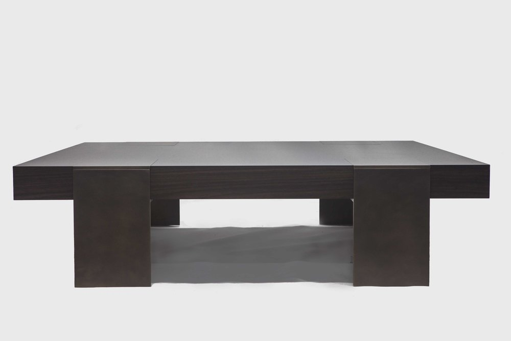 Aguirre Design - Warren Coffee Table - Walnut and Brass