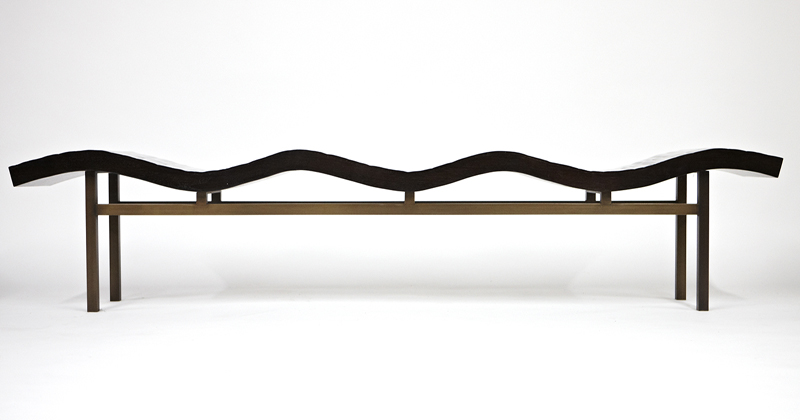 Aguirre Design - Bamboo Wave Bench - Bamboo and Brass