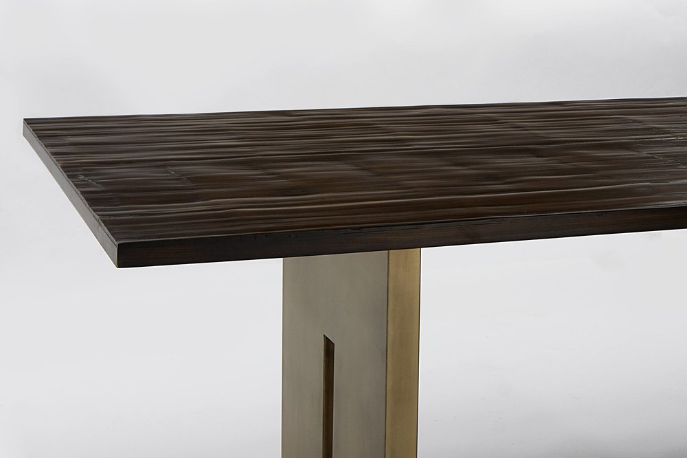 Salome Dining Table - A modern dining Table by Aguirre Design.Materials: Bamboo Top and Solid Brass Pedestals.