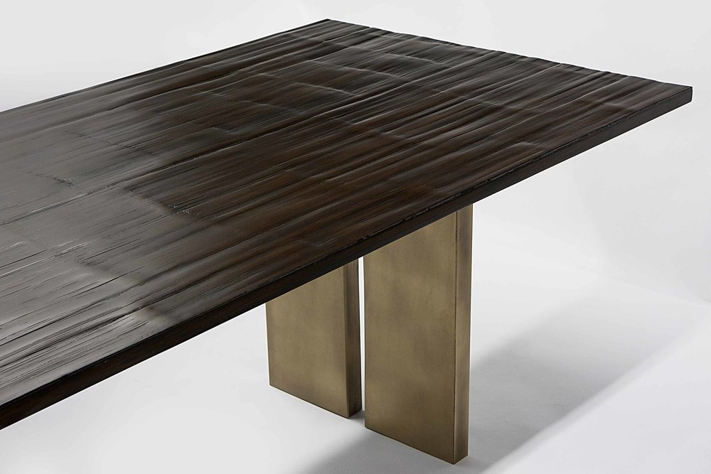 Salome Dining Table - A modern dining Table by Aguirre Design. Materials: Bamboo Top and Solid Brass Pedestals.