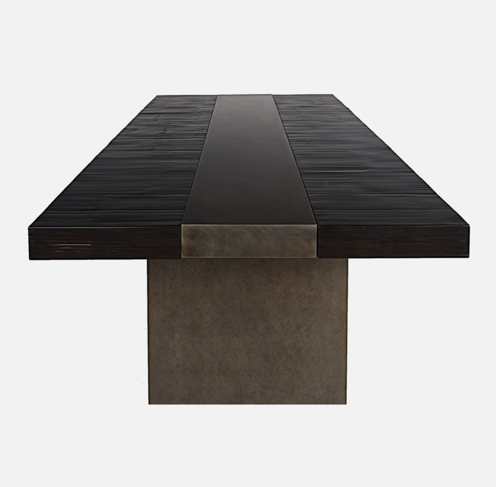 Malta Dining Table - A modern dining Table by Aguirre Design. Materials: Bamboo Top and Blackened Steel Pedestals.