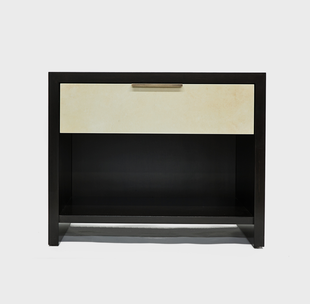 Aguirre Design - Modern Maple, Parchment and Brass Nightstands with Drawers