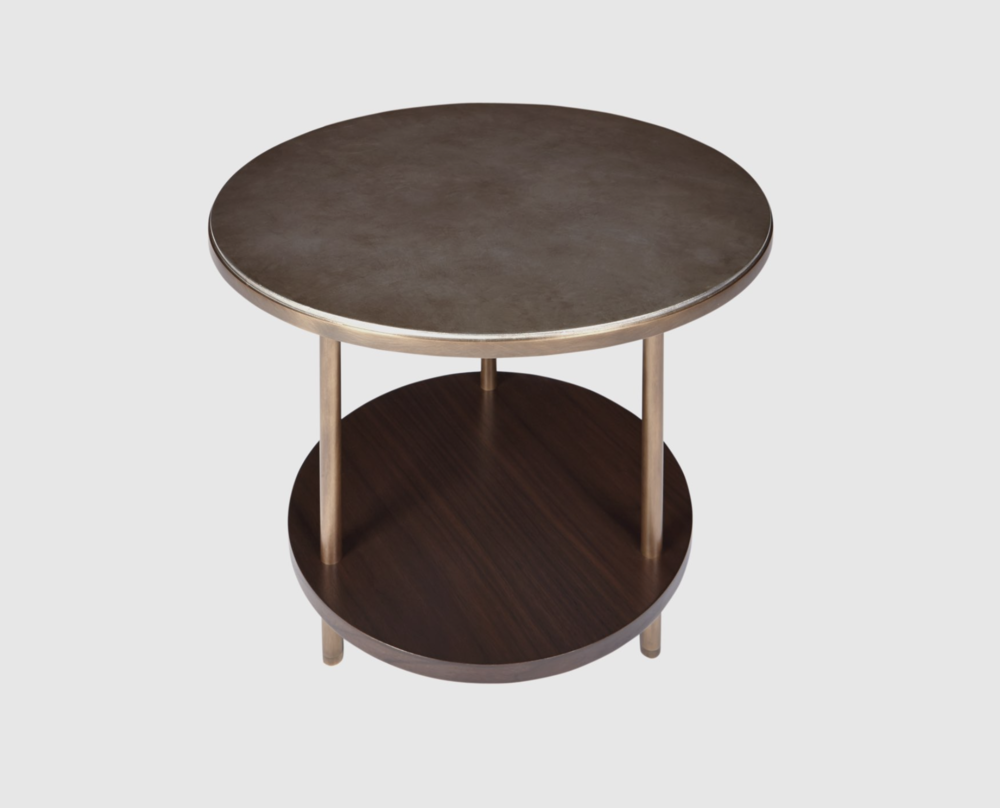 Aguirre Design - Round Osaka Side Table - Silver leaf, Walnut and brass