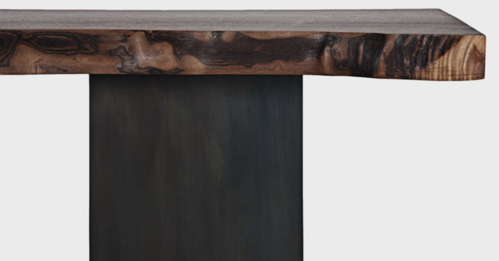 Aguirre Design - Floyd Console - Walnut and Blackened Steel Legs