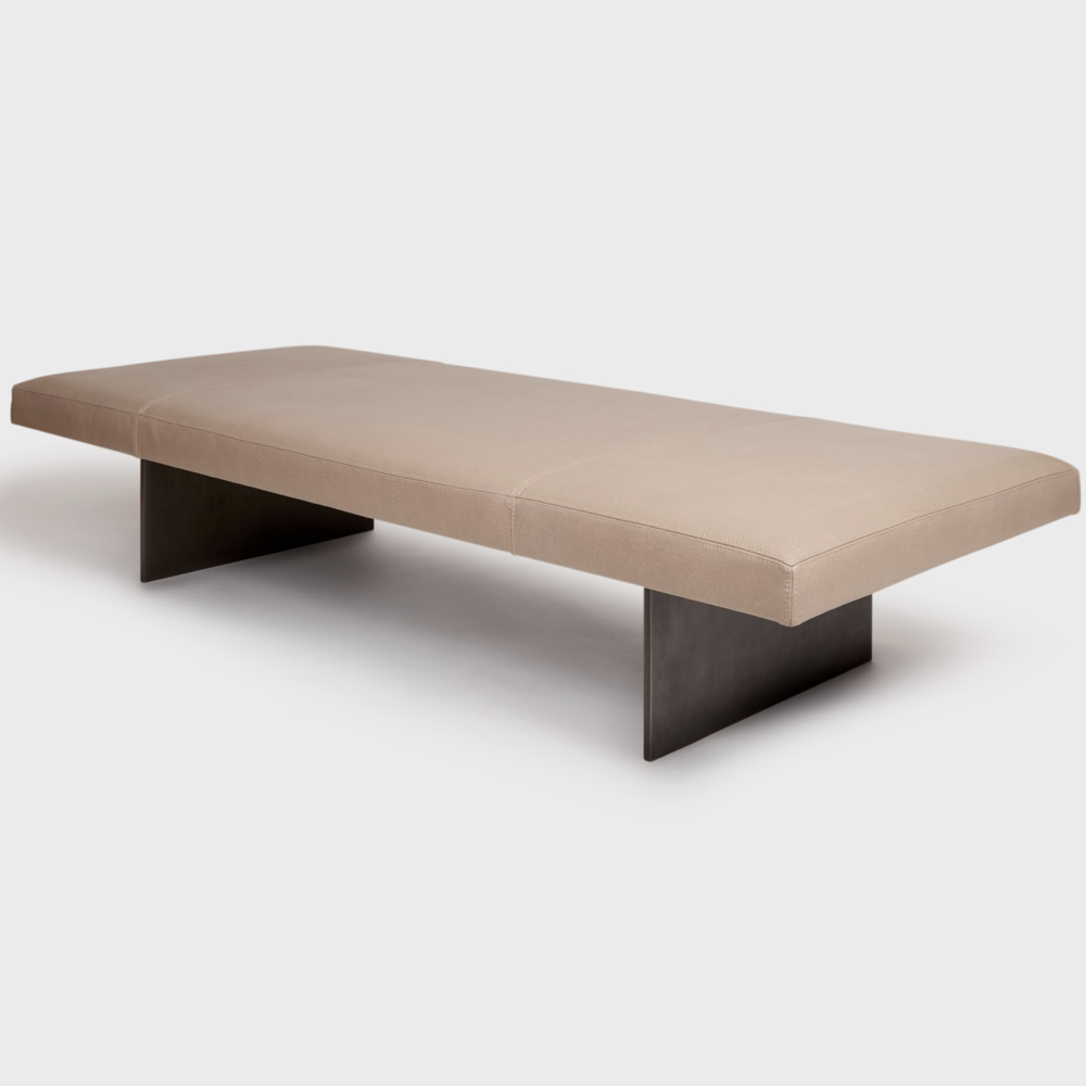 Aguirre Design - Modern Leather and Blackened Steel Bench