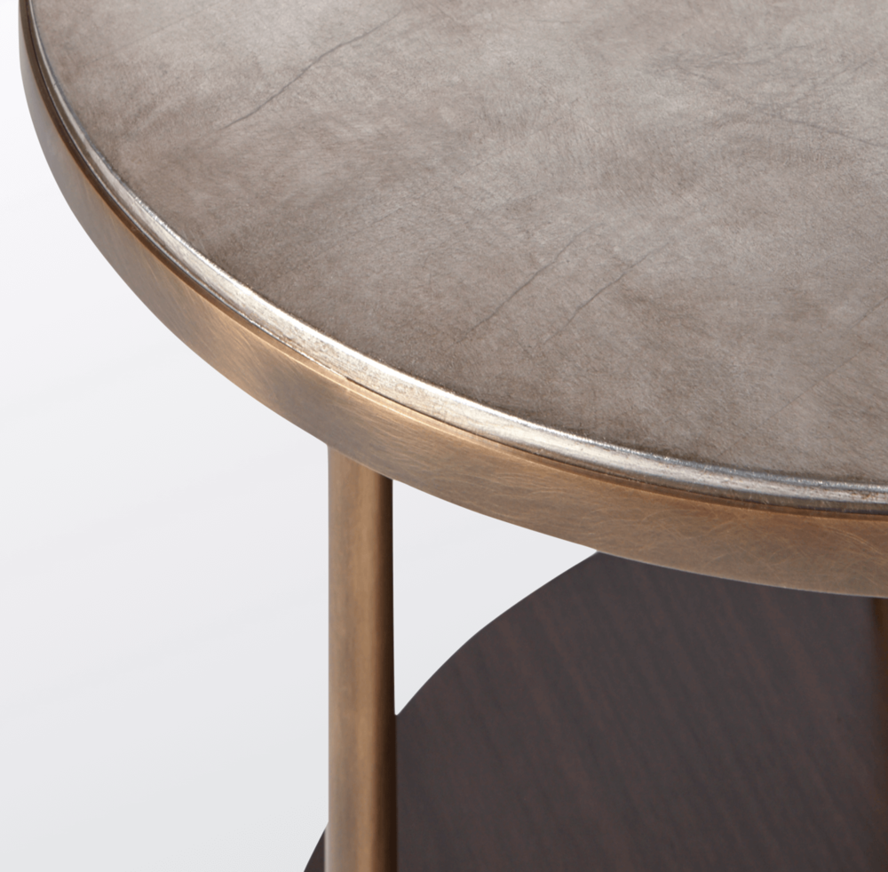 Aguirre Design - Walnut, Brass and Silver Leaf Side Table