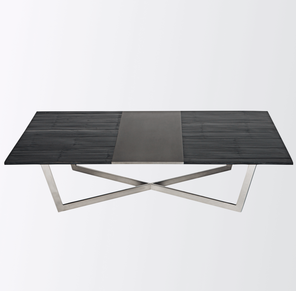 Aguirre Design - Bamboo, Blackened Steel and polished Stainless Steel Coffee Table