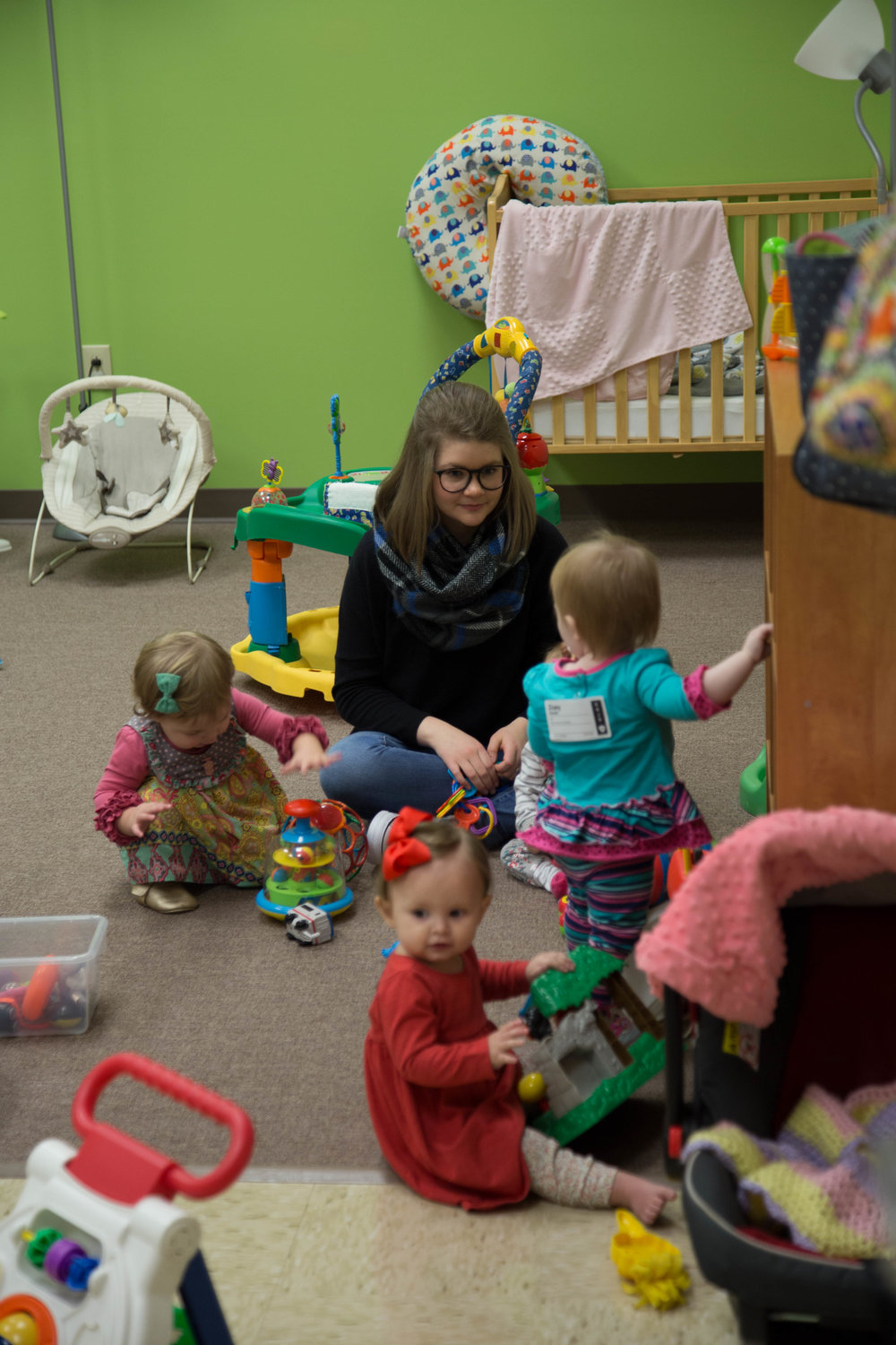 Nursery    Ages 6 weeks-23 months   Our nursery rooms are well staffed and prepared with age-appropriate toys that are thoroughly cleaned every week. As our team holds your baby, we pray for them to know God, find freedom, discover purpose, and make a difference throughout their life.