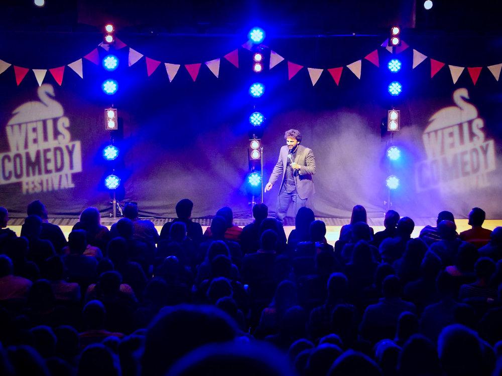 Nish Kumar, Wells Comedy Festival 2018. Photo: Matthew Highton.