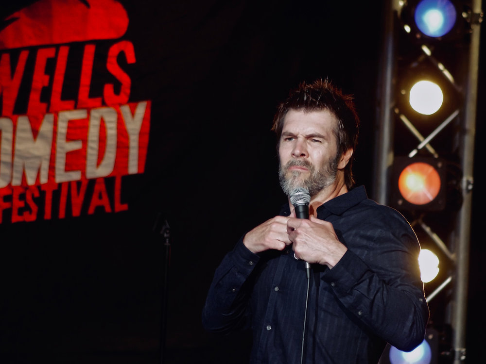 Rhod Gilbert, Wells Comedy Festival 2018. Photo: Matthew Highton.