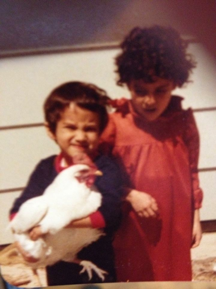 Age 5, Me and my favorite chicken in Pueblo, CO