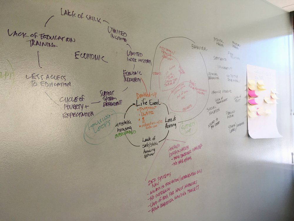 The initial system mapping exercise required a white board and post-its to manage a complex discussion and craft an initial draft.