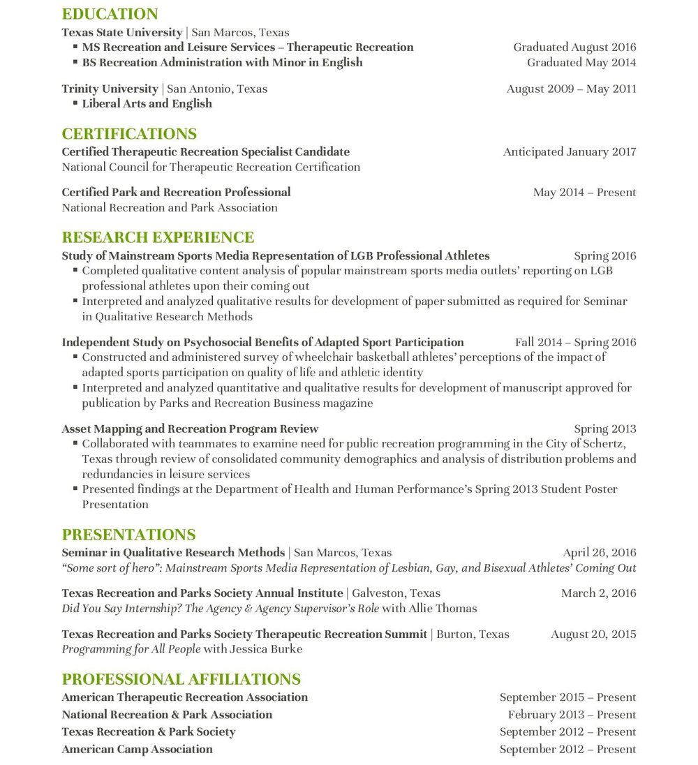 Resume Parks And Recreation Resume cv sarah walters resume public updated 1 17 page 003 jpg