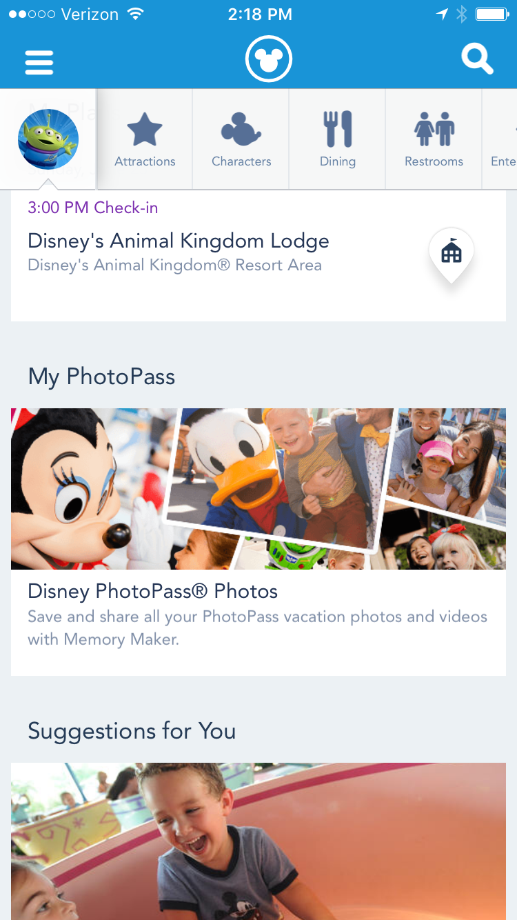 A screen shot of my plans on My Disney Experience app.