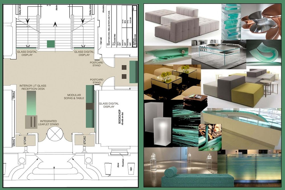 RIBA Foyer Floorplan / Materials moodboard
