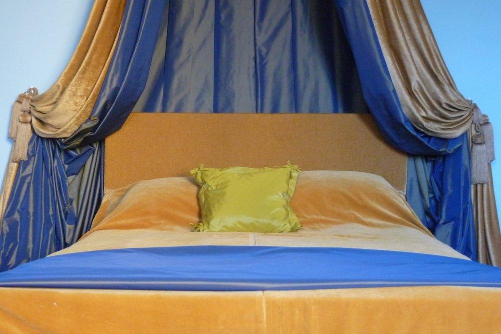Bedhead and drape detail