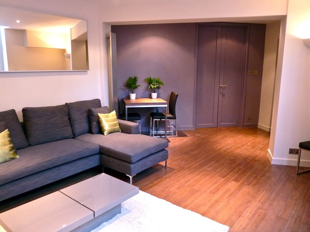 Living Room: Showing full length double doors