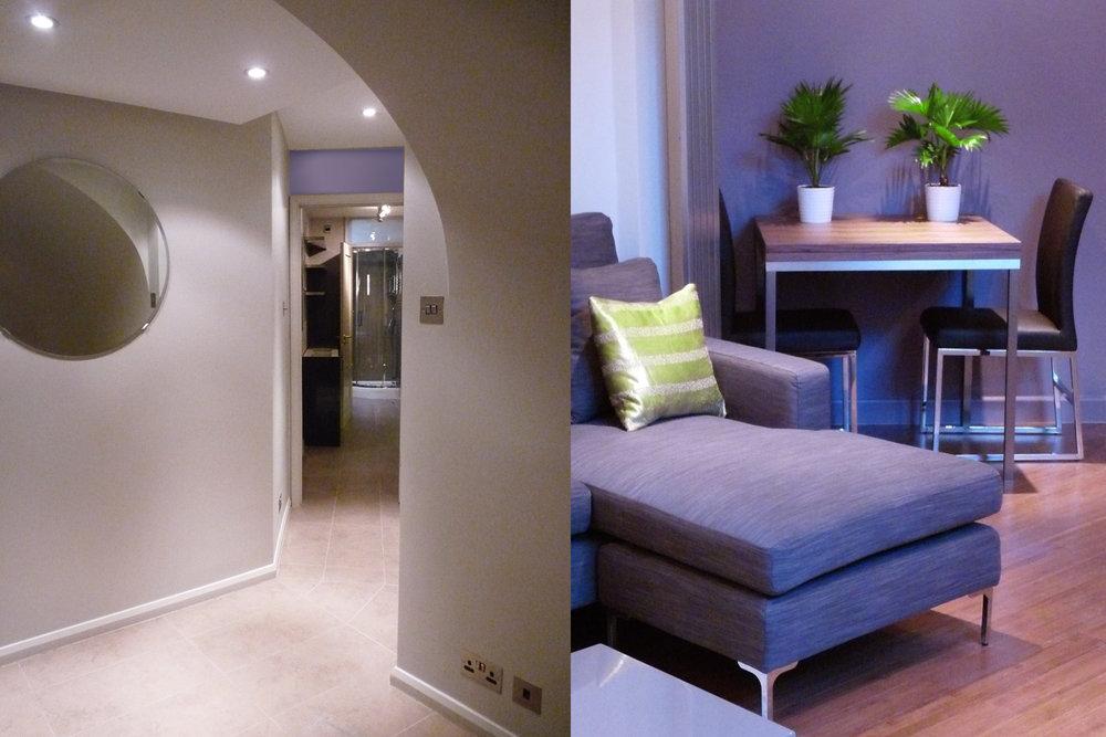 Cumberland Avenue, Living Room detail & vaulted hallway