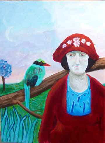 Disappointed Woman with Green Magpie