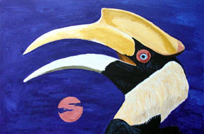 Hornbill with Harvest Moon