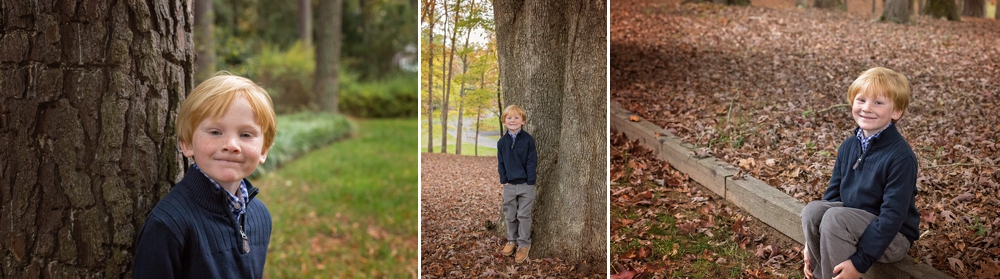 Boy poses for Candace Wolfenbarger among fall foliage.